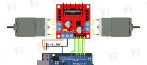 Схема подключения L298N а arduino